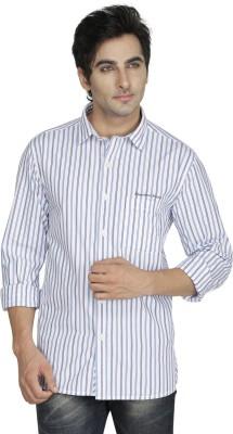 Kingswood Men's Striped Casual Blue Shirt