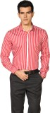 Provogue Men's Striped Formal Red Shirt
