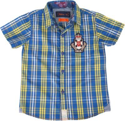 Einstein Boy's Checkered Casual Blue, Yellow Shirt