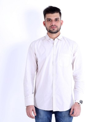 RJ MODA Men's Solid Formal Beige Shirt
