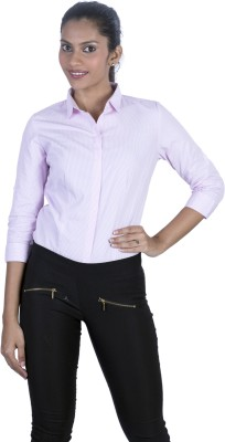 Elle Et Lui Women's Striped Formal Pink Shirt