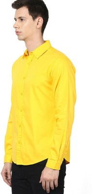 UNO COTTON Men's Solid Formal Yellow Shirt