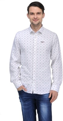 Canary London Men's Printed Casual White Shirt
