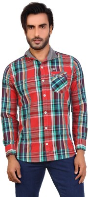 Monarch Men's Checkered Casual Red Shirt