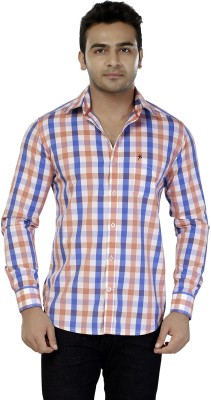 Jazzup Men's Checkered Casual Blue, Orange Shirt