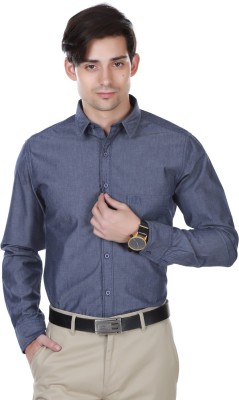 Cotton County Men's Solid Casual Dark Blue Shirt