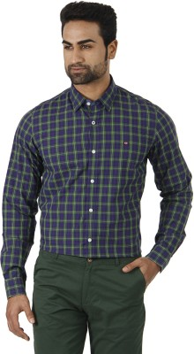 London Fog Men's Checkered Formal Blue, Green Shirt
