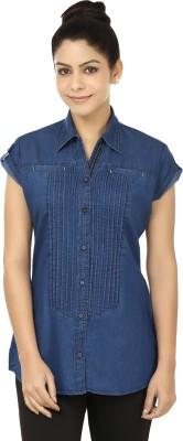 Fashion Cult Women's Solid Casual Blue Shirt