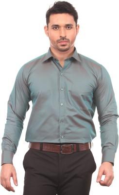 Chill Men's Solid Formal Green Shirt
