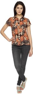 Texco Garments Women's Floral Print Casual Brown Shirt