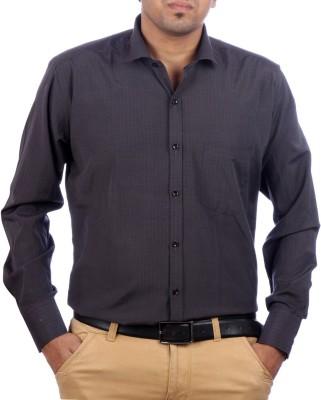 AADUKI Men's Striped Formal Grey Shirt