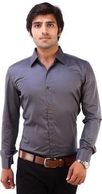 Deeksha Men's Solid Casual Grey Shirt