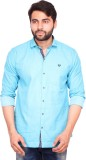 RKF Men's Solid Casual Blue Shirt