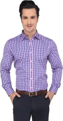 Devaa Men's Checkered Casual Pink, Blue Shirt
