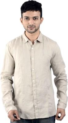 St. Germain Men's Solid Casual Linen Beige Shirt