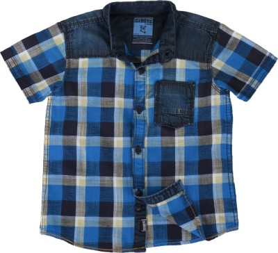 Ice Boys Boy's Checkered Casual Blue, Black Shirt