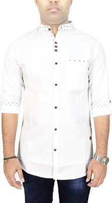 Kuons Avenue Men's Solid, Printed, Floral Print Casual, Party, Festive, Lounge Wear, Wedding White Shirt
