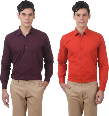 You Forever Men's Solid Casual Purple, Orange Shirt