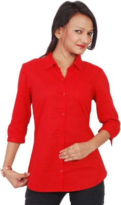 Naughty Bear Women's Solid Formal Red Shirt