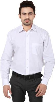 Reborn Designer Men's Solid Formal White Shirt