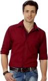 Suspense Men's Solid Casual Maroon Shirt