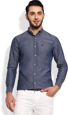 Oxford Club Men's Solid Casual Dark Blue Shirt