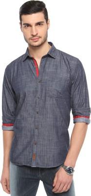 FERROUS Men's Solid Casual Blue Shirt