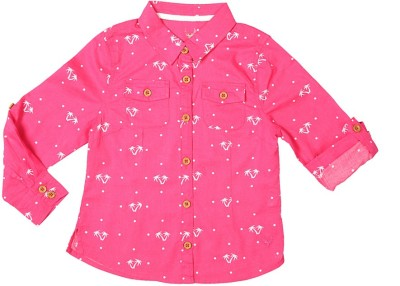 Allen Solly Girl's Printed Casual Pink Shirt