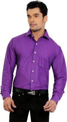 A & C Signature Men's Solid Formal Purple Shirt