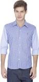 Pratham Men's Checkered Casual Blue Shir...