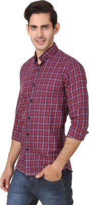 Smithsoul Men's Checkered Casual Red Shirt