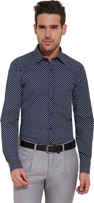 Urban Nomad By INMARK Men's Polka Print Formal Dark Blue Shirt