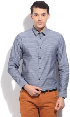 Arrow Newyork Men's Self Design Casual Blue Shirt
