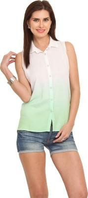 Leo Sansini Women's Solid Casual White, Green Shirt