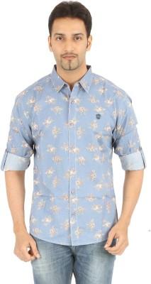 Spykar Men's Printed Casual Light Blue Shirt