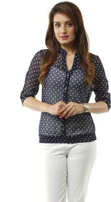 Lynda Women's Polka Print Casual Blue, White Shirt