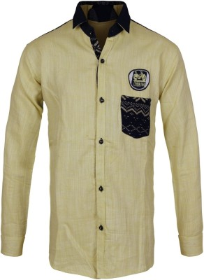Jazzup Boy's Printed Casual Yellow Shirt
