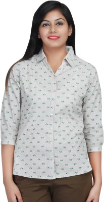 Estella Fashion Women's Printed Casual White, Green Shirt