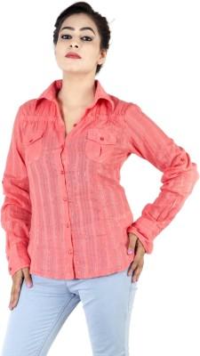 Kashana Fashions Women's Striped Casual Orange Shirt