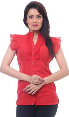 Lynda Women's Solid Casual Red Shirt