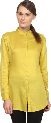 Annapoliss Women's Solid Casual Light Green Shirt