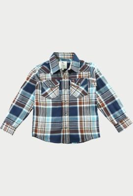 Cherry Crumble California Boy's Checkered Casual Brown Shirt