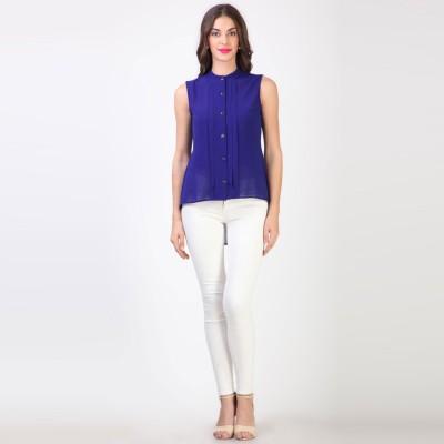 Vvine Women's Solid Casual Blue Shirt