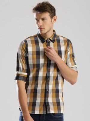 Wrogn Men's Checkered Casual Brown Shirt