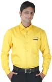 Ignu Men's Solid Casual Yellow Shirt