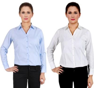 NGT Women's Solid Formal Light Blue Shirt