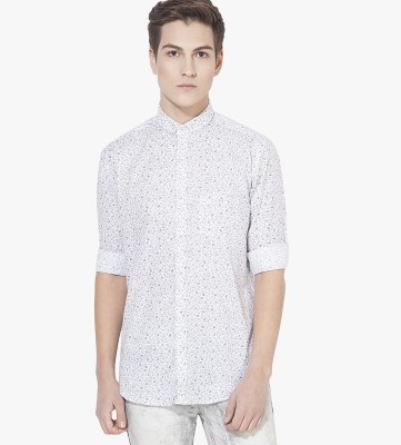 Green Hill Men's Printed Casual White Shirt