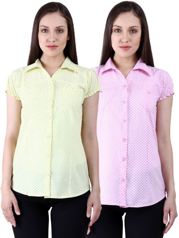 NumBrave Women's Solid Casual Yellow, Pink Shirt(Pack of 2)