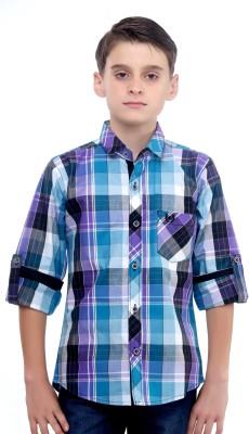 Mash Up Boy's Checkered Casual Purple Shirt