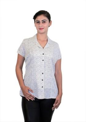 WASP Women's Printed Formal White Shirt
